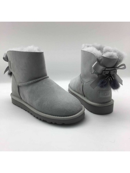 UGG Bailey Bow II Mini Fur Brush Grey