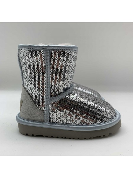 UGG Kids Classic Short Sparkles Silver