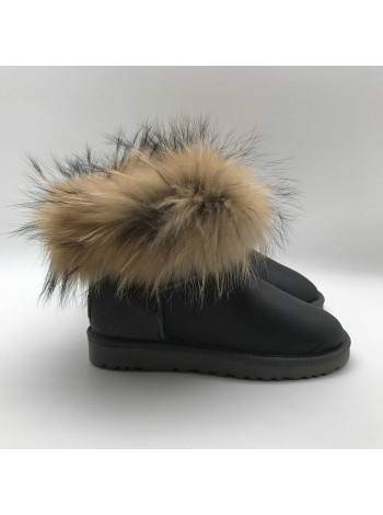 Mini Fox Fur Metallic Grey
