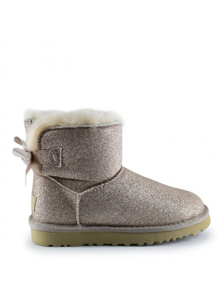 UGG Women's Mini Bailey Bow Sparkle Fashion Gold
