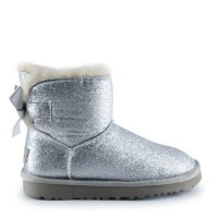 UGG Women's Mini Bailey Bow Sparkle Fashion Silver