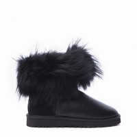 Mini Fox Fur Metallic Black (Black Fur)